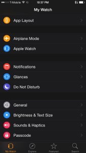 The Apple Watch app on iOS.